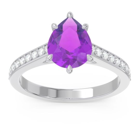 Cathedral Pave Pear Varanda Amethyst Ring with Diamond in Palladium