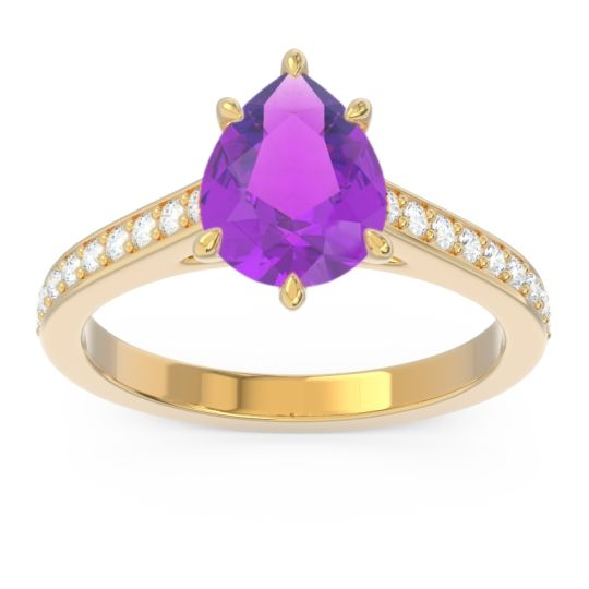 Cathedral Pave Pear Varanda Amethyst Ring with Diamond in 14k Yellow Gold