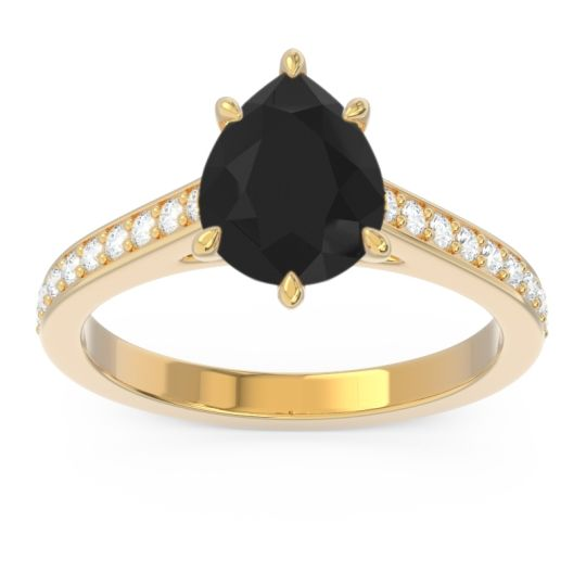 Cathedral Pave Pear Varanda Black Onyx Ring with Diamond in 14k Yellow Gold