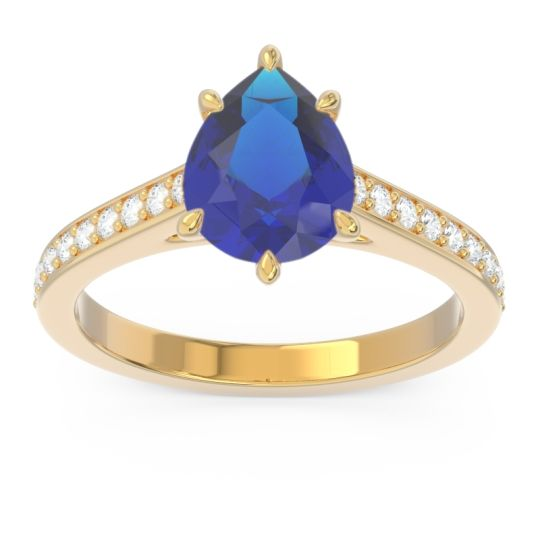 Cathedral Pave Pear Varanda Blue Sapphire Ring with Diamond in 14k Yellow Gold