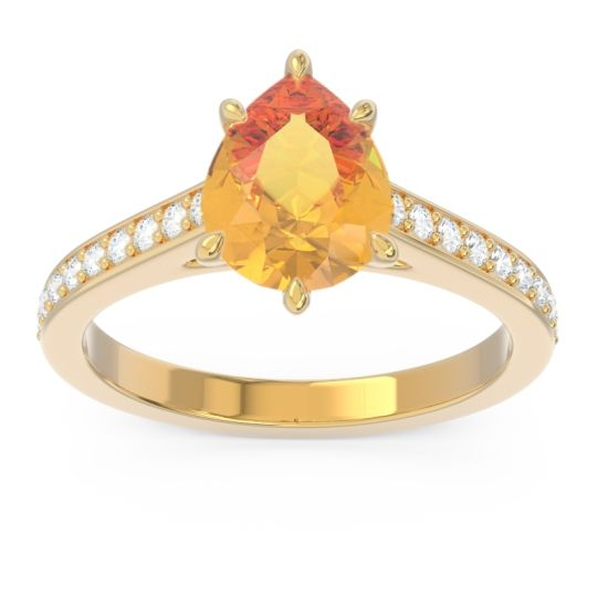 Cathedral Pave Pear Varanda Citrine Ring with Diamond in 14k Yellow Gold