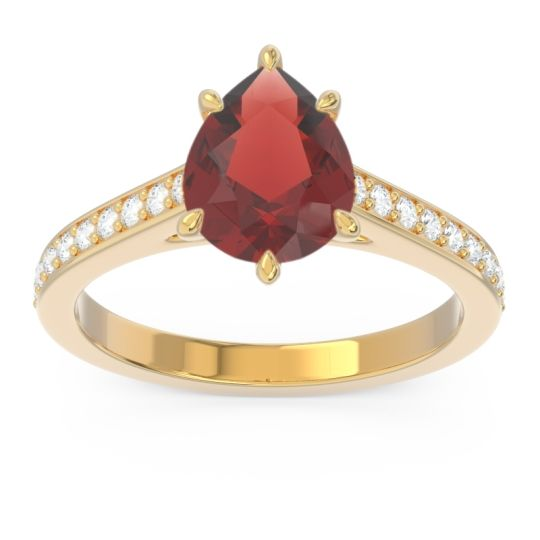 Cathedral Pave Pear Varanda Garnet Ring with Diamond in 14k Yellow Gold