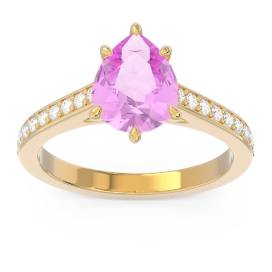 Cathedral Pave Pear Varanda Pink Tourmaline Ring with Diamond in 14k Yellow Gold