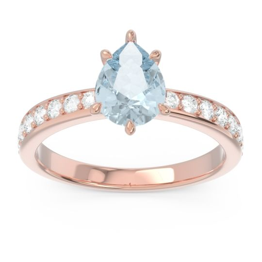 Pave Pear Dadha Aquamarine Ring with Diamond in 14K Rose Gold