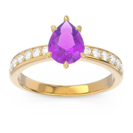 Pave Pear Dadha Amethyst Ring with Diamond in 14k Yellow Gold