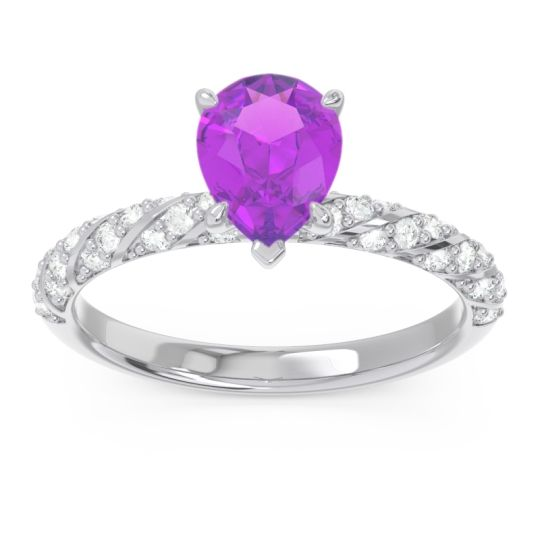 Pave Pear Maggalya Amethyst Ring with Diamond in Palladium
