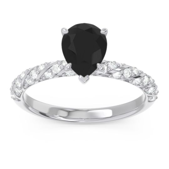 Pave Pear Maggalya Black Onyx Ring with Diamond in 14k White Gold