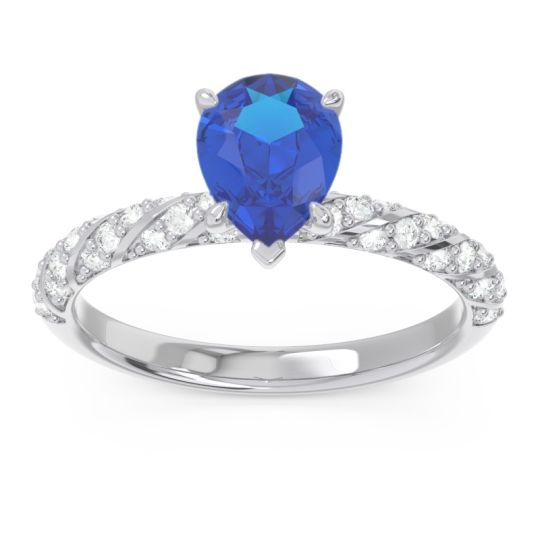 Pave Pear Maggalya Blue Sapphire Ring with Diamond in 14k White Gold