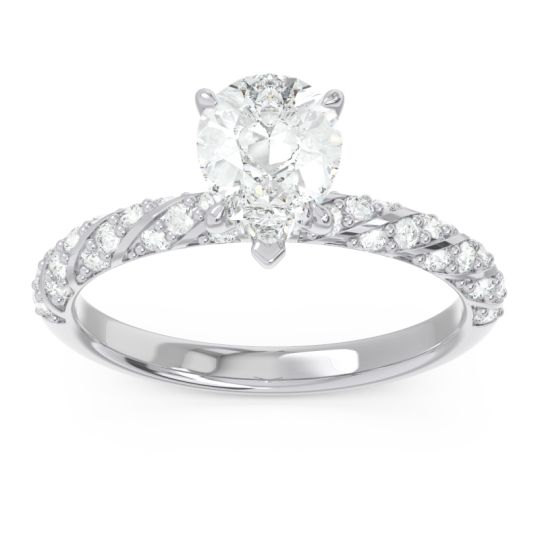 Pave Pear Maggalya Diamond Ring in 14k White Gold