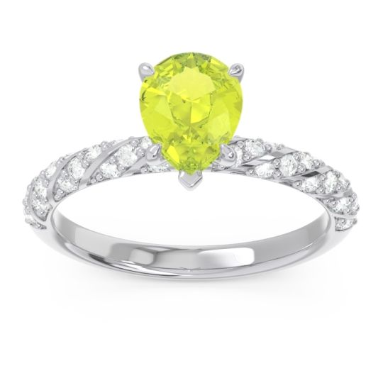 Pave Pear Maggalya Peridot Ring with Diamond in 14k White Gold