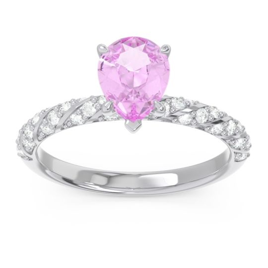 Pave Pear Maggalya Pink Tourmaline Ring with Diamond in 14k White Gold