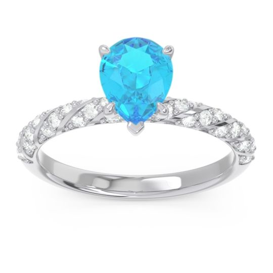 Pave Pear Maggalya Swiss Blue Topaz Ring with Diamond in 14k White Gold
