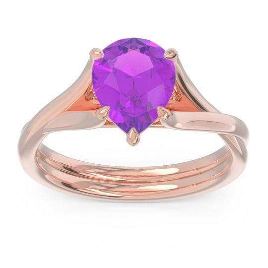 Solitaire Pear Tarukhanda Amethyst Ring in 14K Rose Gold