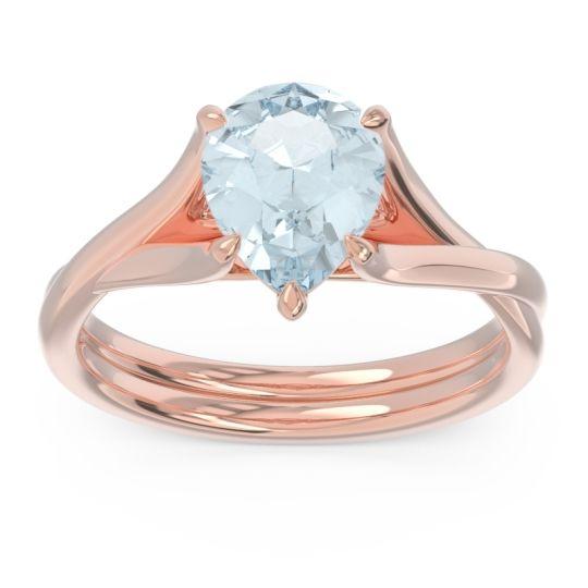 Solitaire Pear Tarukhanda Aquamarine Ring in 14K Rose Gold