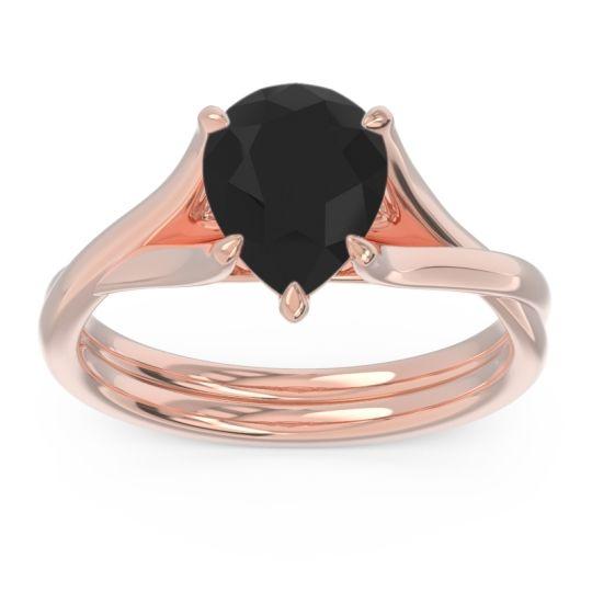 Solitaire Pear Tarukhanda Black Onyx Ring in 14K Rose Gold