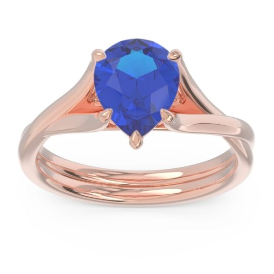 Solitaire Pear Tarukhanda Blue Sapphire Ring in 14K Rose Gold