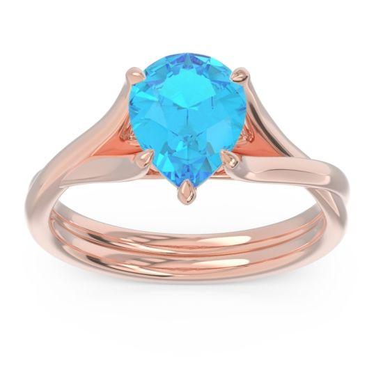 Solitaire Pear Tarukhanda Swiss Blue Topaz Ring in 14K Rose Gold