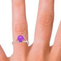 Solitaire Pear Tarukhanda Amethyst Ring in 14K Rose Gold