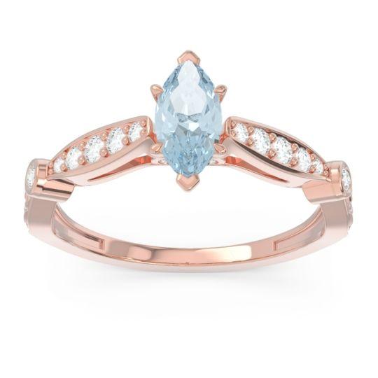 Art Deco Pave Marquise Citrostra Aquamarine Ring with Diamond in 18K Rose Gold