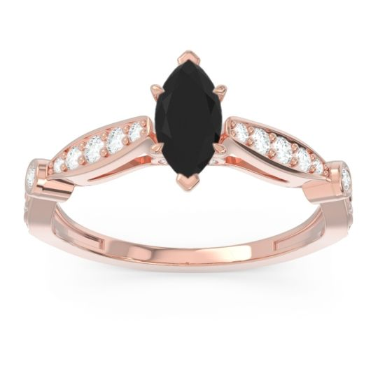 Art Deco Pave Marquise Citrostra Black Onyx Ring with Diamond in 18K Rose Gold