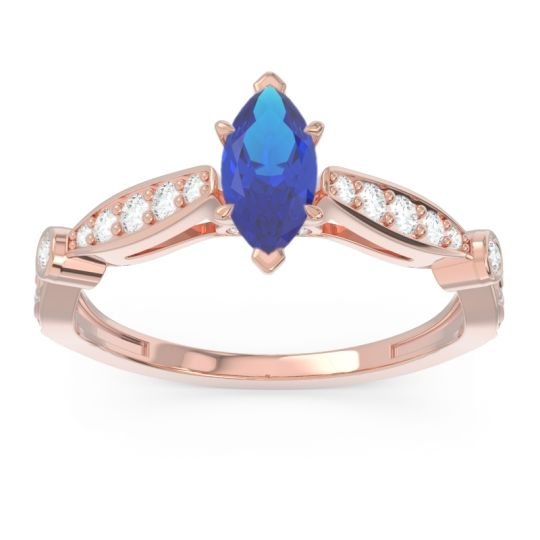 Art Deco Pave Marquise Citrostra Blue Sapphire Ring with Diamond in 18K Rose Gold