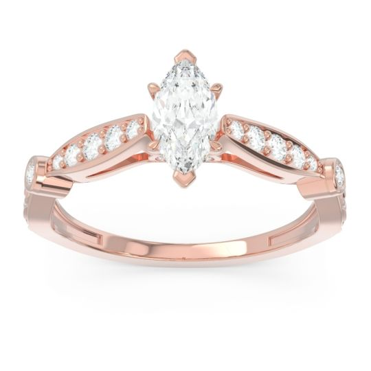 Art Deco Pave Marquise Citrostra Diamond Ring in 18K Rose Gold