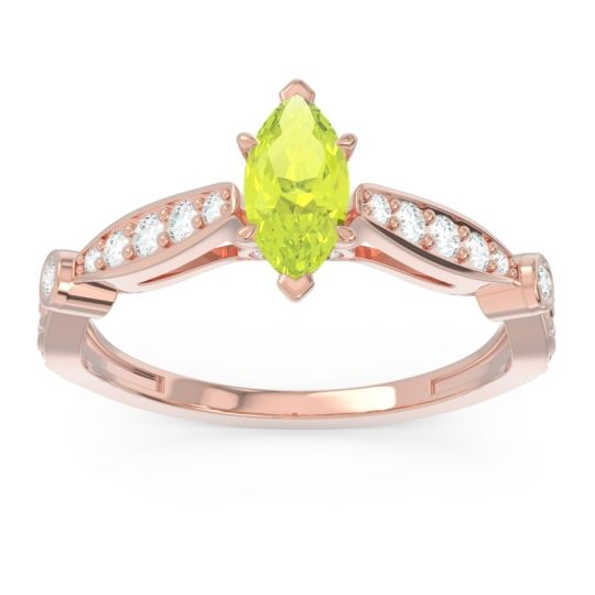 Art Deco Pave Marquise Citrostra Peridot Ring with Diamond in 18K Rose Gold