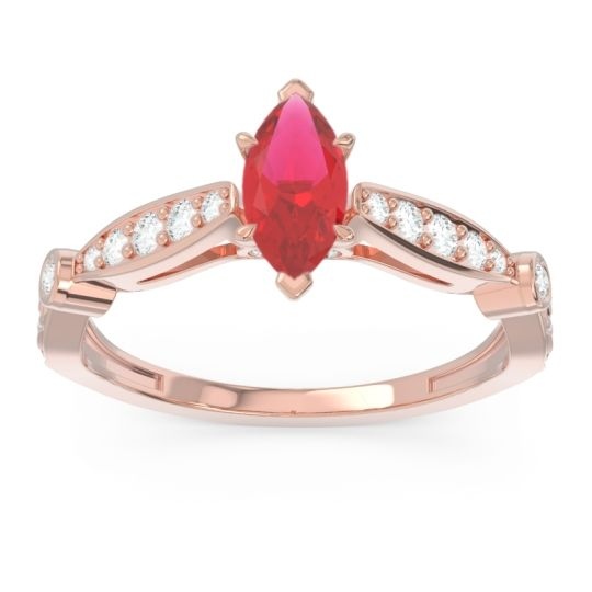 Art Deco Pave Marquise Citrostra Ruby Ring with Diamond in 18K Rose Gold