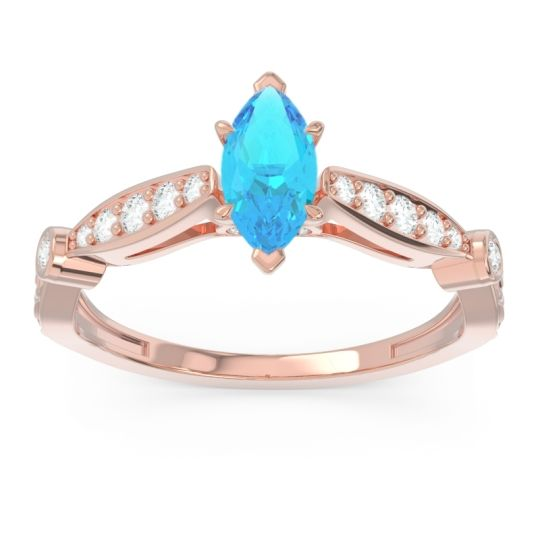 Art Deco Pave Marquise Citrostra Swiss Blue Topaz Ring with Diamond in 18K Rose Gold
