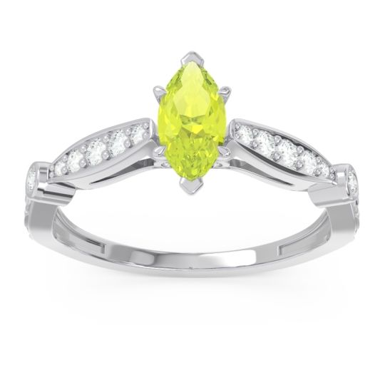 Art Deco Pave Marquise Citrostra Peridot Ring with Diamond in 14k White Gold