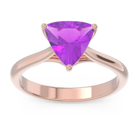 Solitaire Trillion Vatata Amethyst Ring in 18K Rose Gold