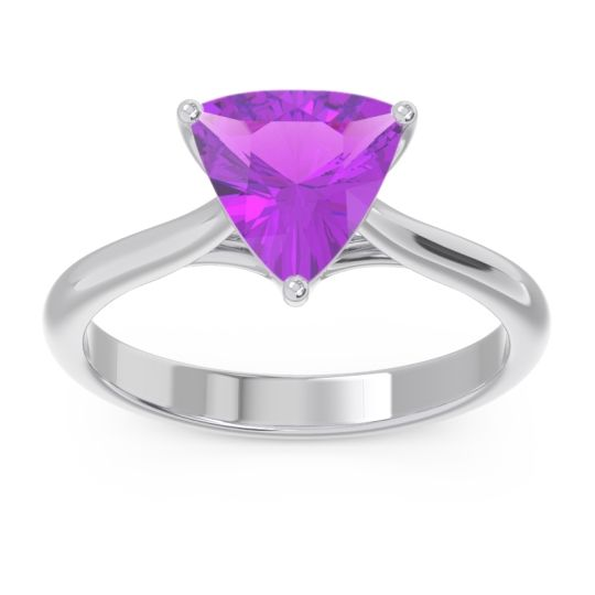 Solitaire Trillion Vatata Amethyst Ring in 18k White Gold