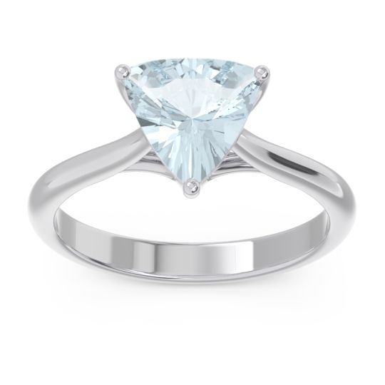 Solitaire Trillion Vatata Aquamarine Ring in 14k White Gold