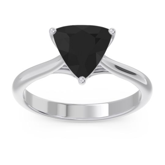 Solitaire Trillion Vatata Black Onyx Ring in 14k White Gold