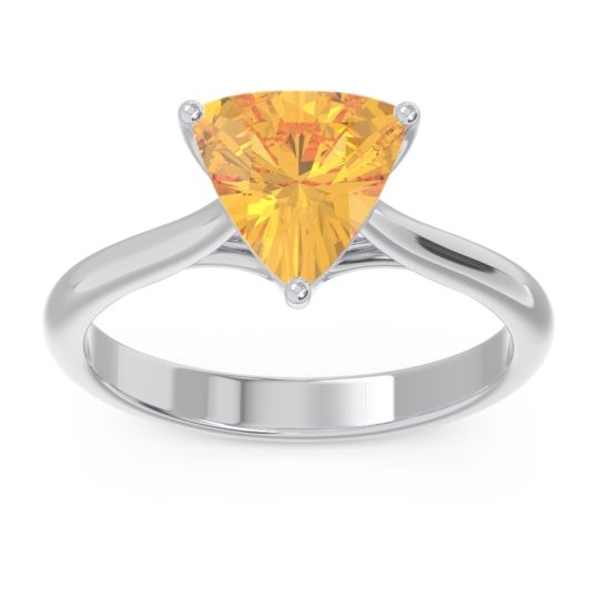 Solitaire Trillion Vatata Citrine Ring in 14k White Gold