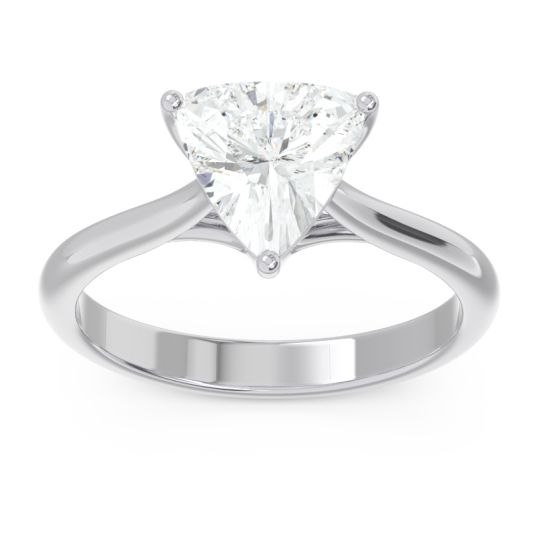 Solitaire Trillion Vatata Diamond Ring in 14k White Gold
