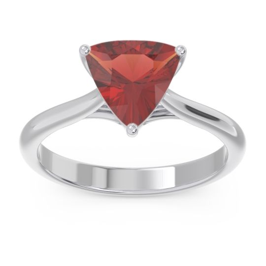 Solitaire Trillion Vatata Garnet Ring in 14k White Gold