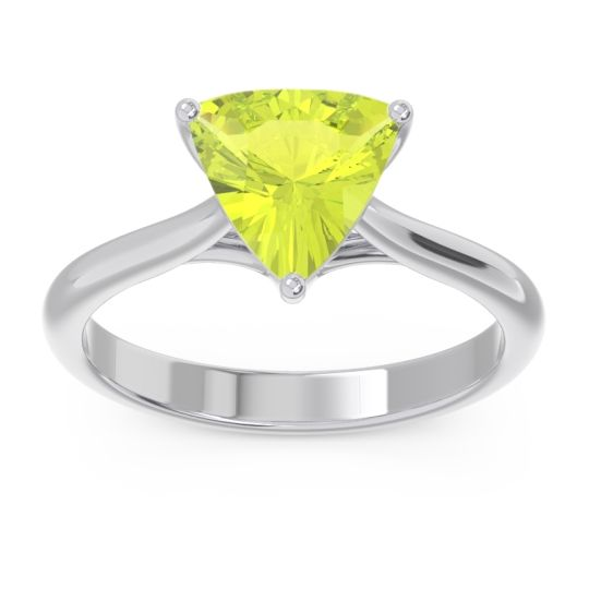 Solitaire Trillion Vatata Peridot Ring in 14k White Gold
