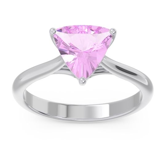 Solitaire Trillion Vatata Pink Tourmaline Ring in 14k White Gold
