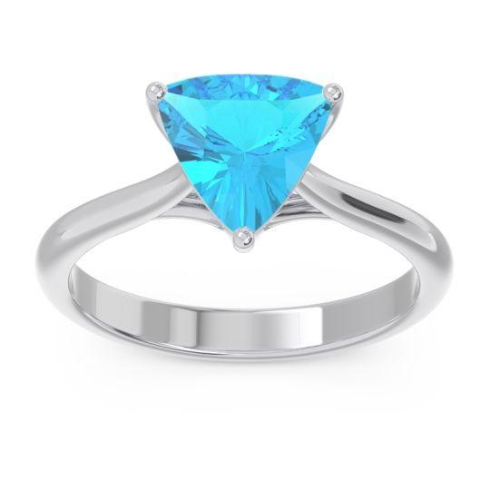 Solitaire Trillion Vatata Swiss Blue Topaz Ring in 14k White Gold