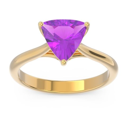 Solitaire Trillion Vatata Amethyst Ring in 14k Yellow Gold