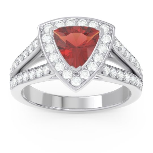 Halo Pave Trillion Tala Garnet Ring with Diamond in 14k White Gold