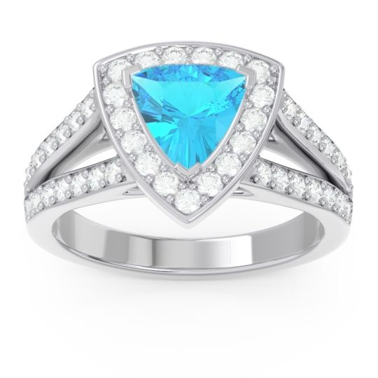 Halo Pave Trillion Tala Swiss Blue Topaz Ring with Diamond in 14k White Gold