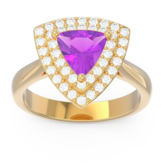 Double Halo Trillion Dvipakalpa Amethyst Ring with Diamond in 14k Yellow Gold