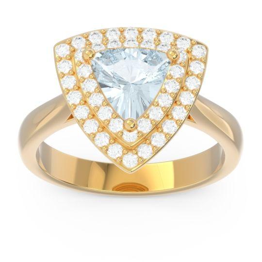 Double Halo Trillion Dvipakalpa Aquamarine Ring with Diamond in 14k Yellow Gold