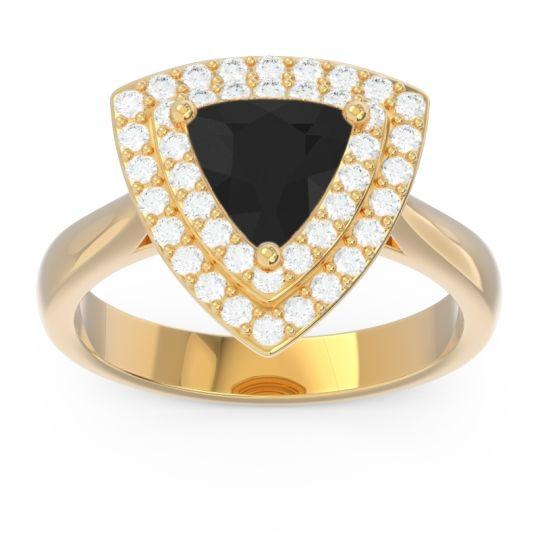 Double Halo Trillion Dvipakalpa Black Onyx Ring with Diamond in 14k Yellow Gold