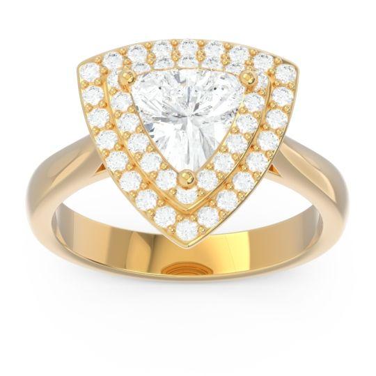 Double Halo Trillion Dvipakalpa Diamond Ring in 14k Yellow Gold