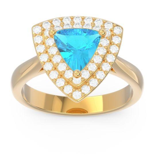 Double Halo Trillion Dvipakalpa Swiss Blue Topaz Ring with Diamond in 14k Yellow Gold