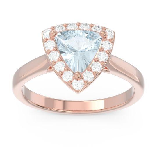 Halo Trillion Dvipa Aquamarine Ring with Diamond in 14K Rose Gold