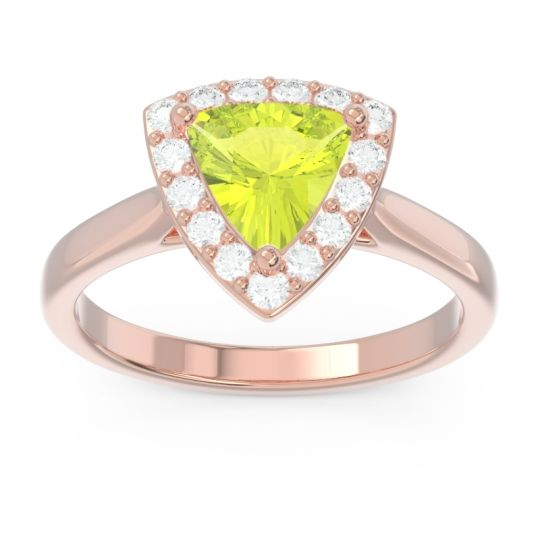 Halo Trillion Dvipa Peridot Ring with Diamond in 14K Rose Gold
